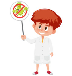 doctor wearing mask and holding stop coronavirus vector image