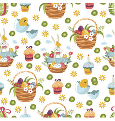 easter basket with flowers eggs and cake seamless vector image