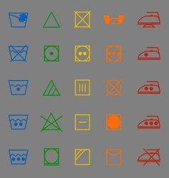 Fabric care sign and symbol color icons vector