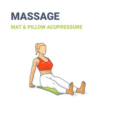 Female siting on an acupressure mat concept vector