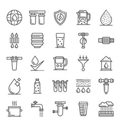 filter water icons set outline style vector image