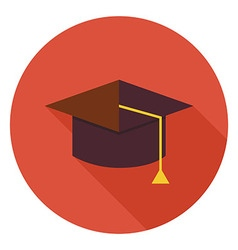 Flat Education Graduate Hat Circle Icon with Long vector