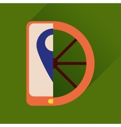 Flat icon with long shadow mobile phone wheel vector