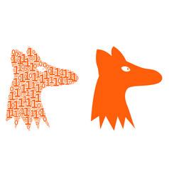 Fox head collage of binary digits vector