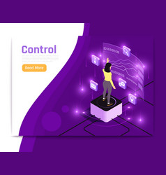 glow isometric people and interfaces banner vector image