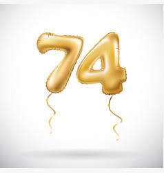 Golden number 74 seventy four metallic balloon vector