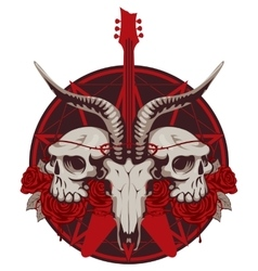 guitar and skull of goat and human vector image