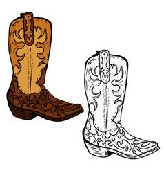 Hand drawn cowboy boots design element vector