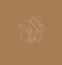 Hand drawn warrior with greek profile isolated vector