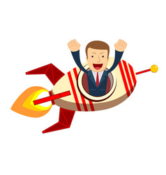 happy businessman on a rocket ship launch vector image