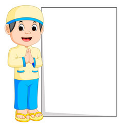 happy muslim boy cartoon holding blank sign vector image