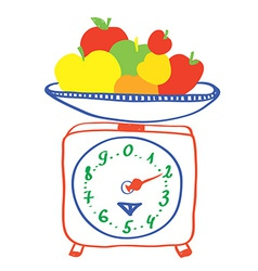 Healthy eating - scales with apples vector image