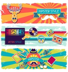 Hipster horizontal banners in retro style vector