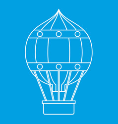 Hot air balloon with gondola basket icon vector