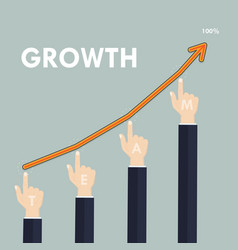 Human hand and growth graph icon on vector
