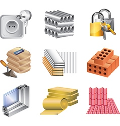 icons buildingmaket materials vector image