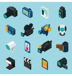 Isometric Photo And Video Icons vector