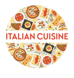 italian cuisine menu food italy pizza and vector image