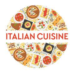 Italian cuisine menu food italy pizza vector