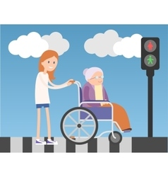 Kind girl helps old lady on wheelchair vector image