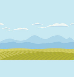 landscape with green fields and mountains vector image