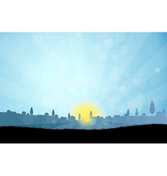 Landscape with Tree Silhouettes vector