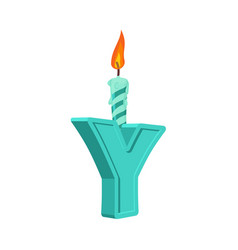 letter y birthday font letter and candle vector image