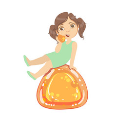 Little girl is sitting on a huge orange jelly andy vector