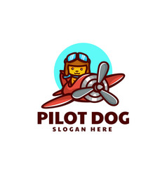 logo pilot dog mascot cartoon style vector image