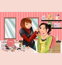 makeup artist at work vector image