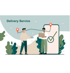 male character is having his parcel delivered vector image