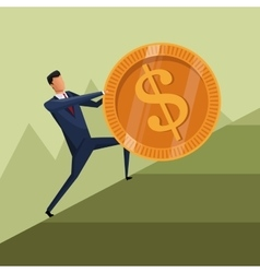 man business growth coin climb work vector image