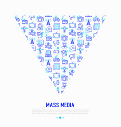 Mass media concept in triangle vector