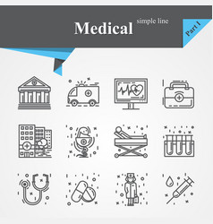 medical outline icon set vector image