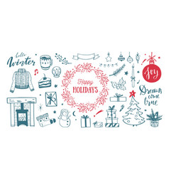 merry christmas happy holidays and new year cozy vector image