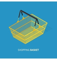 Metal Empty Shopping Basket vector image