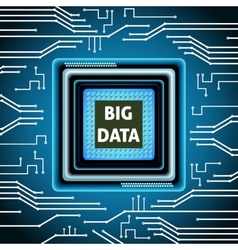 Microchip big data background vector image