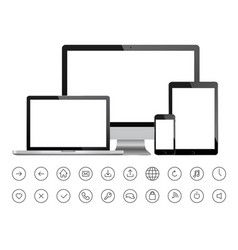 mobile devices and minimalistic icons vector image