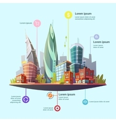 Modern city downtown concept infographic poster vector