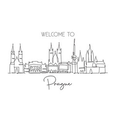 One continuous line drawing prague city vector