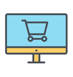 Online shopping pixel perfect thin line icon 48x48 vector