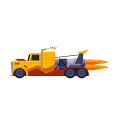 Orange racing truck with flame fast heavy vehicle vector