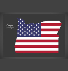 Oregon map with american national flag vector