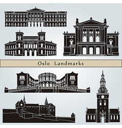 Oslo landmarks and monuments vector image