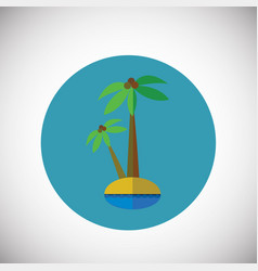 palm tree on island on flate background vector image