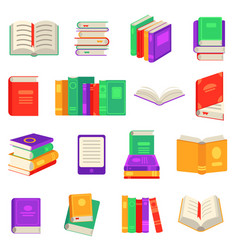 paper and electronic books set with various close vector image