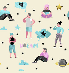 People dreaming about something seamless pattern vector