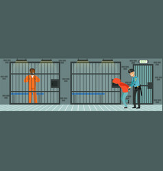 Prison cell with prisoners policeman at work vector