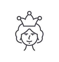 queen line icon sign on vector image