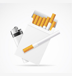 realistic template blank white cigarette pack with vector image